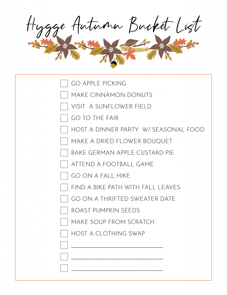 Hygge Autumn Bucket List