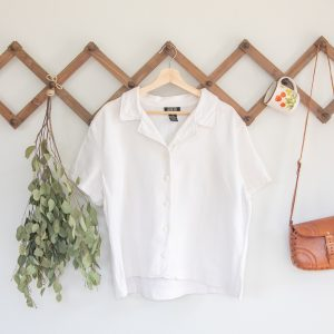 short sleeve vintage linen button up